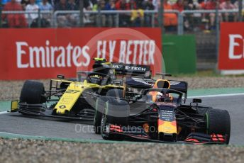 World © Octane Photographic Ltd. Formula 1 – German GP - Race. Aston Martin Red Bull Racing RB15 – Max Verstappen and Renault Sport F1 Team RS19 – Nico Hulkenberg. Hockenheimring, Hockenheim, Germany. Sunday 28th July 2019.