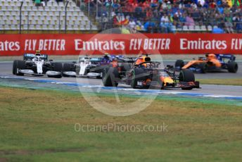 World © Octane Photographic Ltd. Formula 1 – German GP - Race. Aston Martin Red Bull Racing RB15 – Max Verstappen, Mercedes AMG Petronas Motorsport AMG F1 W10 EQ Power+ - Valtteri Bottas and Lewis Hamilton. Hockenheimring, Hockenheim, Germany. Sunday 28th July 2019.