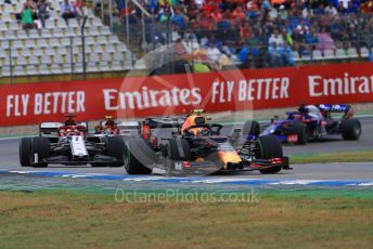 World © Octane Photographic Ltd. Formula 1 – German GP - Race. Aston Martin Red Bull Racing RB15 – Max Verstappen, Alfa Romeo Racing C38 – Kimi Raikkonen and Antonio Giovinazzi with Scuderia Toro Rosso STR14 – Daniil Kvyat. Hockenheimring, Hockenheim, Germany. Sunday 28th July 2019.