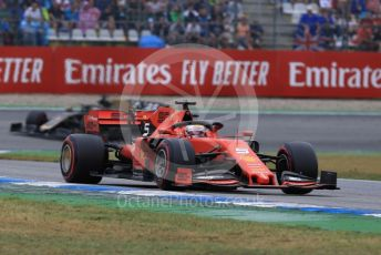 World © Octane Photographic Ltd. Formula 1 – German GP - Race. Scuderia Ferrari SF90 – Sebastian Vettel and Rich Energy Haas F1 Team VF19 – Romain Grosjean. Hockenheimring, Hockenheim, Germany. Sunday 28th July 2019.