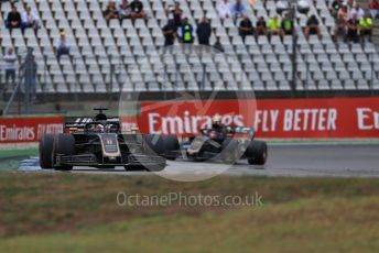 World © Octane Photographic Ltd. Formula 1 – German GP - Race. Rich Energy Haas F1 Team VF19 – Romain Grosjean and Kevin Magnussen. Hockenheimring, Hockenheim, Germany. Sunday 28th July 2019.