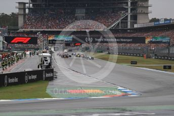 World © Octane Photographic Ltd. Formula 1 – German GP - Race. Race start and Mercedes AMG Petronas Motorsport AMG F1 W10 EQ Power+ - Lewis Hamilton leads the pack. Hockenheimring, Hockenheim, Germany. Sunday 28th July 2019.