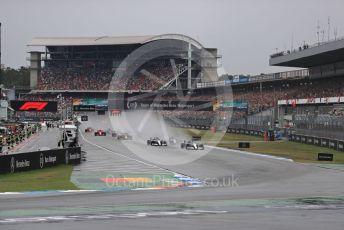 World © Octane Photographic Ltd. Formula 1 – German GP - Race. Mercedes AMG Petronas Motorsport AMG F1 W10 EQ Power+ - Lewis Hamilton and Valtteri Bottas lead the pack. Hockenheimring, Hockenheim, Germany. Sunday 28th July 2019.