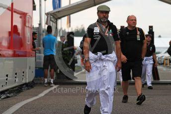 World © Octane Photographic Ltd. Formula 1 – German GP - Paddock. Mercedes AMG Petronas Motorsport AMG F1 mechanics in retro overalls. Hockenheimring, Hockenheim, Germany. Saturday 27th July 2019.
