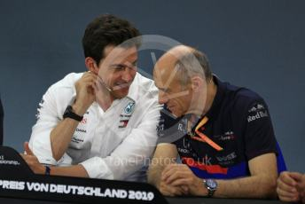 World © Octane Photographic Ltd. Formula 1 - German GP – Friday FIA Team Press Conference. Toto Wolff - Executive Director & Head of Mercedes - Benz Motorsport and Franz Tost – Team Principal of Scuderia Toro Rosso. Hockenheimring, Hockenheim, Germany. Friday 26th July 2019.