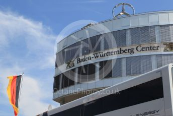World © Octane Photographic Ltd. Formula 1 – German GP - Paddock. Baden-Wurttemberg Centre with Mercedes Start and German flag. Hockenheimring, Hockenheim, Germany. Thursday 25th July 2019.
