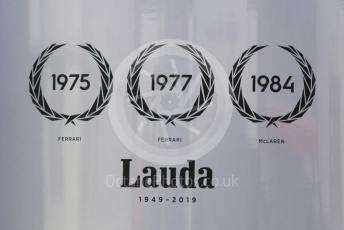 World © Octane Photographic Ltd. Formula 1 – German GP - Paddock. McLaren Lauda tribute. Hockenheimring, Hockenheim, Germany. Thursday 25th July 2019.