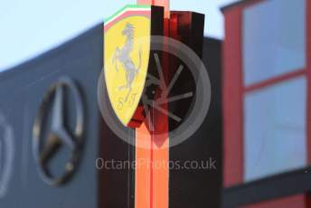 World © Octane Photographic Ltd. Formula 1 – German GP - Paddock. Scuderia Ferrari logo with Mercedes logo reflected. Hockenheimring, Hockenheim, Germany. Thursday 25th July 2019.