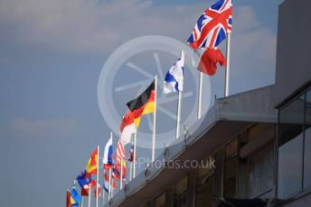 World © Octane Photographic Ltd. Formula 1 – Hungarian GP - Pitlane. Flags in the pitlane. Hungaroring, Budapest, Hungary. Thursday 1st August 2019.