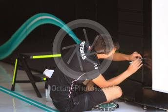 World © Octane Photographic Ltd. Formula 1 – Hungarian GP - Pitlane finishing touches. Mercedes AMG Petronas Motorsport AMG F1 W10 EQ Power+. Hungaroring, Budapest, Hungary. Thursday 1st August 2019.