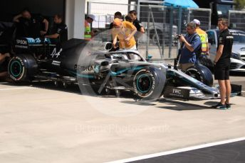 World © Octane Photographic Ltd. Formula 1 – Hungarian GP - Pitlane. Mercedes AMG Petronas Motorsport AMG F1 W10 EQ Power+ - Lewis Hamilton. Hungaroring, Budapest, Hungary. Thursday 1st August 2019.