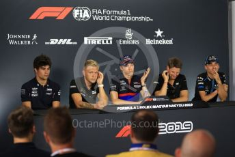 World © Octane Photographic Ltd. Formula 1 – Hungarian GP. FIA Drivers Press Conference. Rich Energy Haas F1 Team – Romain Grosjean, Rich Energy Haas F1 Team – Kevin Magnussen, SportPesa Racing Point – Lance Stroll, Scuderia Toro Rosso – Daniil Kvyat, ROKiT Williams Racing – Robert Kubica. Hungaroring, Budapest, Hungary. Thursday 1st August 2019.