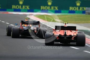 World © Octane Photographic Ltd. Formula 1 – Hungarian GP - Practice 3. Aston Martin Red Bull Racing RB15 – Pierre Gasly and Scuderia Ferrari SF90 – Charles Leclerc. Hungaroring, Budapest, Hungary. Saturday 3rd August 2019.