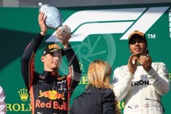 World © Octane Photographic Ltd. Formula 1 – Hungarian GP - Podium. Mercedes AMG Petronas Motorsport AMG F1 W10 EQ Power+ - Lewis Hamilton and Aston Martin Red Bull Racing RB15 – Max Verstappen. Hungaroring, Budapest, Hungary. Sunday 4th August 2019.