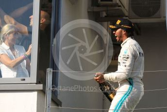World © Octane Photographic Ltd. Formula 1 – Hungarian GP - Podium. Mercedes AMG Petronas Motorsport AMG F1 W10 EQ Power+ - Lewis Hamilton. Hungaroring, Budapest, Hungary. Sunday 4th August 2019.