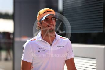 World © Octane Photographic Ltd. Formula 1 – Hungarian GP - Paddock. McLaren MCL34 – Carlos Sainz. Hungaroring, Budapest, Hungary. Sunday 4th August 2019.