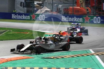 World © Octane Photographic Ltd. Formula 1 – Italian GP - Race. Rich Energy Haas F1 Team VF19 – Kevin Magnussen and Aston Martin Red Bull Racing RB15 – Alexander Albon. Autodromo Nazionale Monza, Monza, Italy. Sunday 8th September 2019.