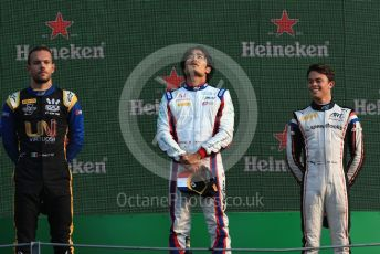 World © Octane Photographic Ltd. Formula 2 – Italian GP - Race 1. Nobuharu Matsushita - Carlin, Luca Ghiotto - UNI-Virtuosi Racing, Nyck De Vries - ART Grand Prix. Autodromo Nazionale Monza, Monza, Italy. Saturday 7th September 2019.