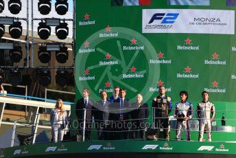 World © Octane Photographic Ltd. Formula 2 – Italian GP - Race 1. Nobuharu Matsushita - Carlin, Luca Ghiotto - UNI-Virtuosi Racing, Nyck De Vries - ART Grand Prix and Jean Todt. Autodromo Nazionale Monza, Monza, Italy. Saturday 7th September 2019.