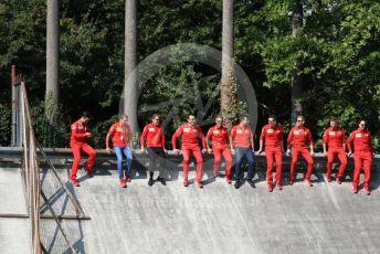 World © Octane Photographic Ltd. Formula 1 – Italian GP - Track walk. Scuderia Ferrari SF90 – Sebastian Vettel sits on old embankment. Autodromo Nazionale Monza, Monza, Italy. Thursday 4th September 2019.