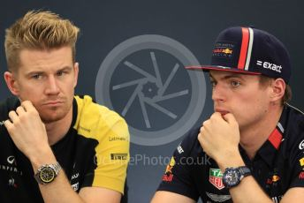 World © Octane Photographic Ltd. Formula 1 – Singapore GP. FIA Drivers Press Conference. Aston Martin Red Bull Racing – Max Verstappen talks with Renault Sport F1 Team – Nico Hulkenberg. Suzuka Circuit, Suzuka, Japan. Thursday 10th October 2019.