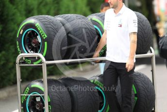 World © Octane Photographic Ltd. Formula 1 – Japanese GP - Paddock. Pirelli intermediate tyres. Suzuka Circuit, Suzuka, Japan. Thursday 10th October 2019.