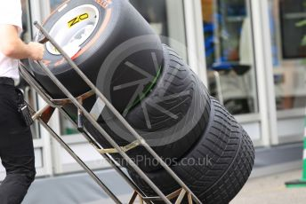 World © Octane Photographic Ltd. Formula 1 – Japanese GP - Paddock. Pirelli dry, intermediate and full wet tyres. Suzuka Circuit, Suzuka, Japan. Thursday 10th October 2019.
