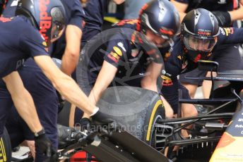 World © Octane Photographic Ltd. Formula 1 – Japanese GP - Paddock. Aston Martin Red Bull Racing RB15 pit stop practice. Suzuka Circuit, Suzuka, Japan. Thursday 10th October 2019.