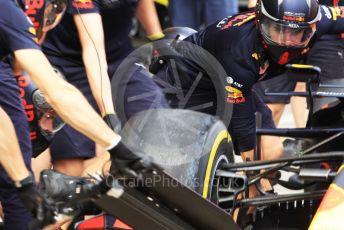 World © Octane Photographic Ltd. Formula 1 – Japanese GP - Paddock. Aston Martin Red Bull Racing RB15 pit stop practice. Suzuka Circuit, Suzuka, Japan. Thursday 10th October 2019.