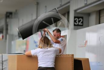 World © Octane Photographic Ltd. Formula 1 – Japanese GP - Paddock. McLaren unpacking new parts. Suzuka Circuit, Suzuka, Japan. Thursday 10th October 2019.