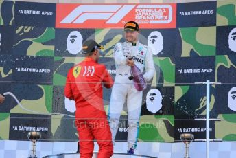 World © Octane Photographic Ltd. Formula 1 – Japanese GP - Podium. Mercedes AMG Petronas Motorsport AMG F1 W10 EQ Power+ - Valtteri Bottas and Scuderia Ferrari SF90 – Sebastian Vettel. Suzuka Circuit, Suzuka, Japan. Sunday 13th October 2019.