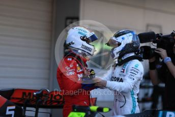 World © Octane Photographic Ltd. Formula 1 – Japanese GP - Parc Ferme. Mercedes AMG Petronas Motorsport AMG F1 W10 EQ Power+ - Valtteri Bottas and Scuderia Ferrari SF90 – Sebastian Vettel. Suzuka Circuit, Suzuka, Japan. Sunday 13th October 2019.