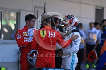 World © Octane Photographic Ltd. Formula 1 – Japanese GP - Parc Ferme. Mercedes AMG Petronas Motorsport AMG F1 W10 EQ Power+ - Valtteri Bottas with Scuderia Ferrari SF90 – Sebastian Vettel and Charles Leclerc. Suzuka Circuit, Suzuka, Japan. Sunday 13th October 2019.
