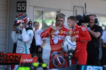 World © Octane Photographic Ltd. Formula 1 – Japanese GP - Parc Ferme. Mercedes AMG Petronas Motorsport AMG F1 W10 EQ Power+ - Lewis Hamilton with Scuderia Ferrari SF90 – Sebastian Vettel and Charles Leclerc. Suzuka Circuit, Suzuka, Japan. Sunday 13th October 2019.
