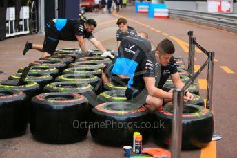 World © Octane Photographic Ltd. Formula 1 – Monaco GP. Setup. ROKiT Williams Racing FW 42 wheels with Pirelli tyres. Monte-Carlo, Monaco. Wednesday 22nd May 2019.