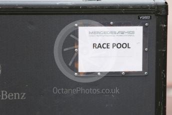 "World © Octane Photographic Ltd. Formula 1 – Monaco GP. Setup. Mercedes AMG High Performance Powertrains ""Race Pool"" box label. Monte-Carlo, Monaco. Wednesday 22nd May 2019."