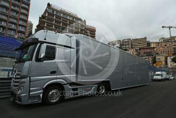 World © Octane Photographic Ltd. Formula 1 – Monaco GP. Atmosphere/F1 truck on track. Monte-Carlo, Monaco. Wednesday 22nd May 2019.