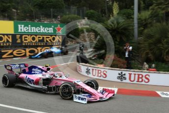 World © Octane Photographic Ltd. Formula 1 – Monaco GP. Practice 1. SportPesa Racing Point RP19 – Lance Stroll and ROKiT Williams Racing FW 42 – George Russell. Monte-Carlo, Monaco. Thursday 23rd May 2019.