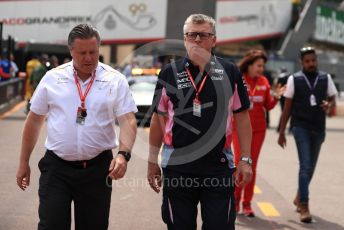 World © Octane Photographic Ltd. Formula 1 - Monaco GP. Practice 3. Zak Brown - Executive Director of McLaren Technology Group and Otmar Szafnauer - Team Principal of SportPesa Racing Point. Monte-Carlo, Monaco. Saturday 25th May 2019.