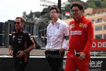 World © Octane Photographic Ltd. Formula 1 - Monaco GP. Practice 3. Christian Horner - Team Principal of Red Bull Racing, Toto Wolff - Executive Director & Head of Mercedes - Benz Motorsport and Mattia Binotto – Team Principal of Scuderia Ferrari. Monte-Carlo, Monaco. Saturday 25th May 2019.