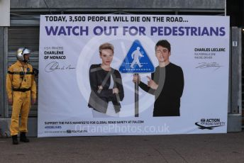 World © Octane Photographic Ltd. Formula 1 – Monaco GP. Qualifying. HSH Princess Charlene of Monaco and Charles Leclerc join the #3500LIVES Global Road Safety Campaign poster. Monte-Carlo, Monaco. Saturday 25th May 2019.