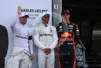 World © Octane Photographic Ltd. Formula 1 – Monaco GP. Qualifying. Mercedes AMG Petronas Motorsport AMG F1 W10 EQ Power+ - Lewis Hamilton, Valtteri Bottas and Aston Martin Red Bull Racing RB15 – Max Verstappen. Monte-Carlo, Monaco. Saturday 25th May 2019.
