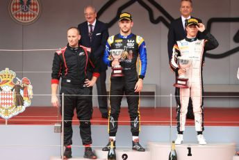 World © Octane Photographic Ltd. FIA Formula 2 (F2) – Monaco GP - Race 1 Podium. ART Grand Prix - Nyck de Vries and Virtuosi Racing - Luca Ghiotto. Monte-Carlo, Monaco. Friday 24th May 2019.