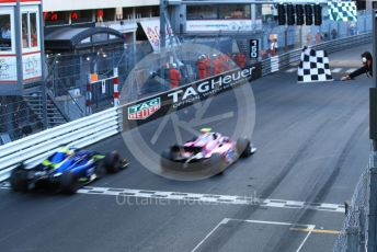 World © Octane Photographic Ltd. FIA Formula 2 (F2) – Monaco GP - Race 2. Carlin - Louis Deletraz and Virtuosi Racing - Guanyu Zhou. Monte-Carlo, Monaco. Saturday 25th May 2019.