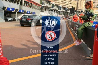 World © Octane Photographic Ltd. Formula 1 – Monaco GP. Pitlane. FIA curfew in effect sign. Monte-Carlo, Monaco. Saturday 25th May 2019.