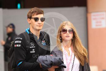 World © Octane Photographic Ltd. Formula 1 – Monaco GP. Paddock. ROKiT Williams Racing FW 42 – George Russell with girlfriend Seychelle de Vries (sister of Nyck de Vries). Monte-Carlo, Monaco. Sunday 26th May 2019.