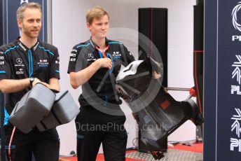 World © Octane Photographic Ltd. Formula 1 – Monaco GP. Paddock. ROKiT Williams Racing mechanics with driver seat. Monte-Carlo, Monaco. Sunday 26th May 2019.