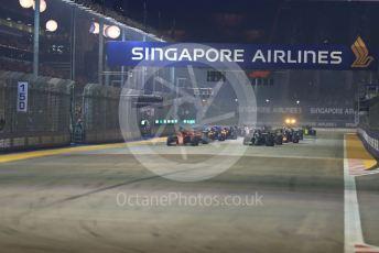 World © Octane Photographic Ltd. Formula 1 – Singapore GP - Race. Scuderia Ferrari SF90 – Charles Leclerc leads race start Marina Bay Street Circuit, Singapore. Sunday 22nd September 2019.