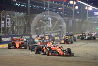 World © Octane Photographic Ltd. Formula 1 – Singapore GP - Race. Scuderia Ferrari SF90 – Charles Leclerc. Marina Bay Street Circuit, Singapore. Sunday 22nd September 2019.