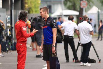 World © Octane Photographic Ltd. Formula 1 – Singapore GP - Paddock. Scuderia Toro Rosso STR14 – Daniil Kvyat and Laurent Mekies – Sporting Director of Scuderia Ferrari. Marina Bay Street Circuit, Singapore. Friday 20th September 2019.
